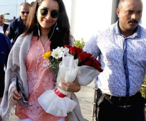 Actress Shraddha Kapoor comes out of Raja Bhoj Airport in Bhopal where she is shooting for upcoming film 'Stree', on March 21, 2018.