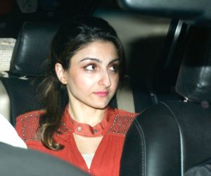 Neha Dhupia's birthday celebrations at Karan Johar's residence - Soha Ali Khan