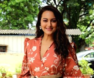 "Actress Sonakshi Sinha at the trailer launch of her upcoming film ""Khandaani Shafakhana"", in Mumbai on July 22, 2019."