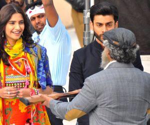 Actress Sonam Kapoor shoots for her upcoming film 'Khoobsurat'