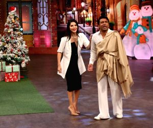 Sunny Leone on the sets of The Kapil Sharma Show