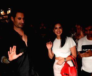 Sunny Leone and Daniel Weber seen at Mumbai's Juhu