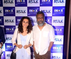 Taapsee Pannu and Anubhav Sinha during a programme