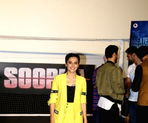 """Actress Taapsee Pannu at the trailer launch of her upcoming film """"Soorma"""" in Mumbai on June 11, 2018."""