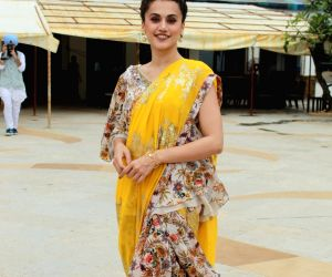 Taapsee Pannu seen at a Juhu hotel