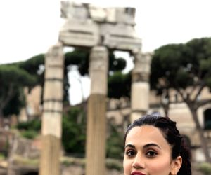 Actress Taapsee Pannu seen on the streets of Rome.