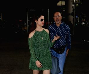 Tamannaah Bhatia and Santhosh Bhatia spotted at airport