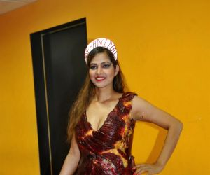 Actress Tanisha Singh during special photo shoot wearing real goat meat dress like Lady Gaga for Save Animals campaign in Mumbai on Wednesday, February 5th, 2014