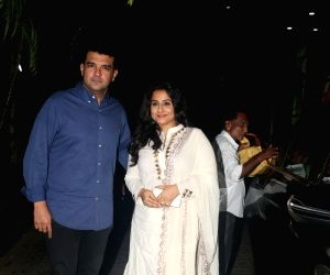 "Actress Vidya Balan and her husband Siddharth Roy Kapur at the screening of the upcoming film ""India's Most Wanted"" in Mumbai, on May 22, 2019."