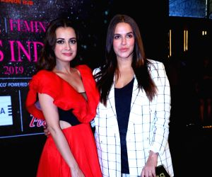 Actresses Dia Mirza and Neha Dhupia during a programme organised by fbb Colors Femina Miss India 2019, in Mumbai, on May 26, 2019.