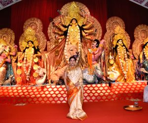 Actresses Kajol and Tanishaa Mukerji with thier mother Tanuja at a Durga Puja pandal in Juhu Mumbai on Oct 4, 2019.