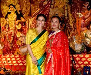 Actresss Kajol and Rani Mukerji  at a Durga Puja pandal in Juhu, Mumbai on Oct 6, 2019.