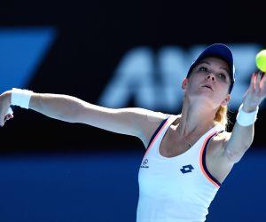 Dominika Cibulkova of Slovakia celebrates after winning women's singles semifinal