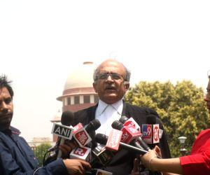 Advocate Prashant Bhushan talks to media persons, regarding the dismissed Border Security Force (BSF) jawan Tej Bahadur Yadav, who moved the Supreme Court on Monday challenging rejection ...