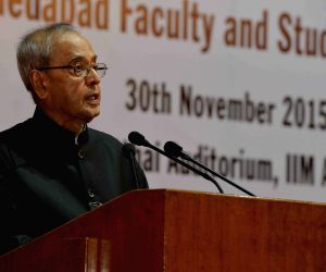 Exhibition at the Institute of Management - Ahmadabad (IIMA) - President Mukherjee