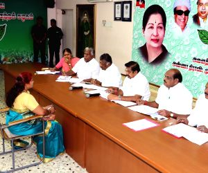AIADMK leaders K. Palaniswami and O. Panneerselvan during an interview to select probable candidates to contest upcoming Lok Sabha polls in Chennai on March 11, 019.
