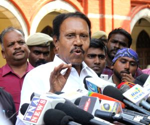 AIADMK MP and Lok Sabha Deputy Speaker M. Thambidurai, who appeared before the Justice Arumughaswamy Commission that is probing the J. Jayalalithaa death case, talks to media persons in ...