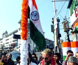 Asaduddin Owaisi unfurls the Indian flag on Republic Day