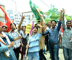 AISF demonstration outside PU VC's residence