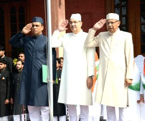 Aligarh Muslim University Vice Chancellor, Professor Tariq Mansoor (C) salutes the National Flag during 73rd Independence Day celebrations at the University, in Aligarh on Aug 15, 2019.