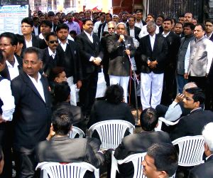 Lawyers' demonstration at Allahabad district court