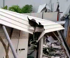 Amaravati: Demolition of a building adjacent to former Chief Minister N. Chandrababu Naidu's residence on the banks of Krishna river in full swing amid tension and tight security on Wednesday, as the Andhra Pradesh High Court; in Amaravati on June 26