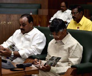 Amaravati: TDP leader N. Chandrababu Naidu during the presentation of the annual state Budget 2019-20 at the State Legislative Assembly, in Amaravati on July 12, 2019. (Photo: IANS)