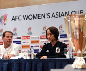 AMMAN, April 19, 2018 - Coach Alen Stajcic(L) of Australia and Asako Takakura of Japan attend the press conference before the final match between Australia and Japan at the 2018 AFC Women's Asian Cup ...