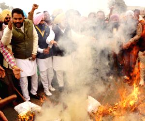 Congress demonstration against Punjab Deputy CM