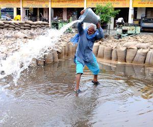 Rain water inundates an Amritsar grain market