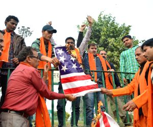 Shiv Sena Samajwadi Party demonstration against vandalism in a  US Hindu temple