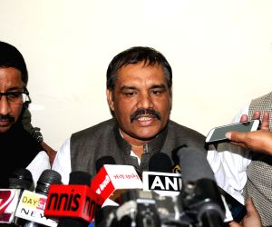 Vijay Sampla addresses press
