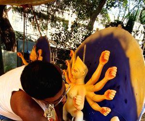 Preparations for Durga Puja in full swing at CR Park's Kali Bari