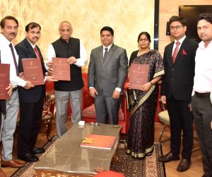 Andhra Pradesh Chief Electoral Officer Gopalakrishna Dwivedi and Election Commission of India, Principal Secretary S K Rudola submits the list of elected representatives of Andhra Pradesh ...