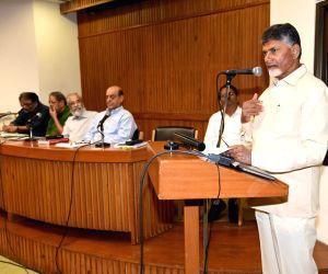 Andhra Pradesh Chief Minister and TDP supremo N. Chandrababu Naidu addresses at a meeting with Loktantrik Janata Dal (LJD) leader Sharad Yadav at his residence in New Delhi, on May 18, ...