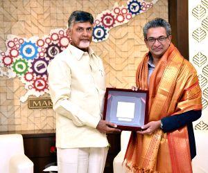 Andhra Pradesh Chief Minister N. Chandrababu Naidu meets Google India MD Rajan Anandan, at the Secretariat in Vijyawada on May 3, 2018.