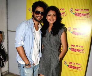 Anushka Sharma and Shahid Kapoor promote 'Badmaash Company' on Radio Mirchi at Lower Parel.