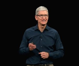 :Apple CEO Tim Cook at an event in California where the company officially introduced its 2018 line-up of iPhonesthe premium iPhone XS, iPhone XS Max and iPhone XR,  late on Wednesday..