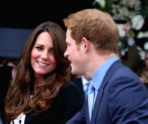 Duke and Duchess of Cambridge and Prince Harry at the  Warner Bros. Studios in Leavesden, Herts.