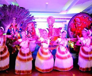 Artistes perform during Kerala Tourism programme