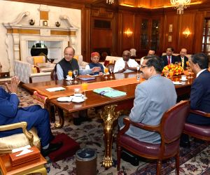 Arun Jaitley, Union Minister of Finance meeting President Ram Nath Kovind