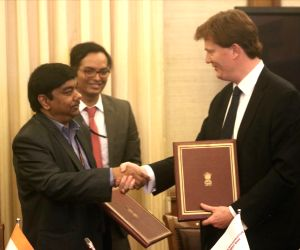 Asian Infrastructure Investment Bank (AIIB) Vice President and Corporate Secretary Danny Alexander during the MoU signing ceremony between Government of India and AIIB in New Delhi on Dec 12, 2017.