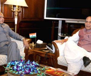 Assam Governor Banwarilal Purohit meets Rajnath Singh