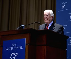 Former U.S. President Jimmy Carter speaks during the opening ceremony of a Chinese painting exhibition dedicated to commemorate the 35th anniversary of ...