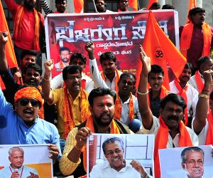 Bajrang Dal members stage a demonstration against Kerala Chief Minister Pinarayi Vijayan and rationalist and author Prof KS Bhagavan, in Bengaluru on Jan 12, 2019.