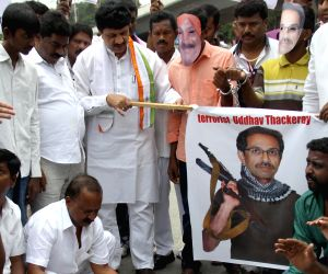 Youth Congress protesting against Shiva Sena