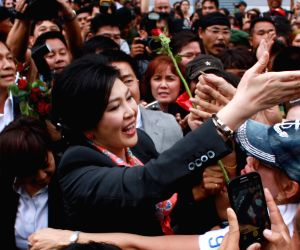 Yingluck Shinawatra after a press conference in Bangkok