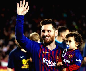 BARCELONA, April 28, 2019 - Barcelona's Lionel Messi holds his son Ciro as he celebrates after a Spanish league soccer match between FC Barcelona and Levante in Barcelona, Spain, on April 27, 2019. ...
