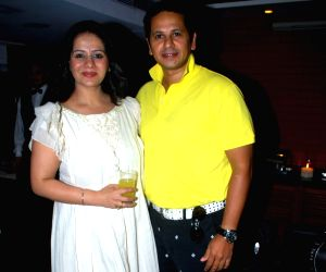 Beauty & wellness industry entrepreneur Kiran Bawa with a guest at an event orgaisned by her.