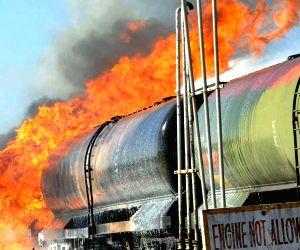 Fire breaks out in an oil wagon rake